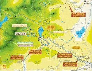 Carte des randonnées site des bouillouses